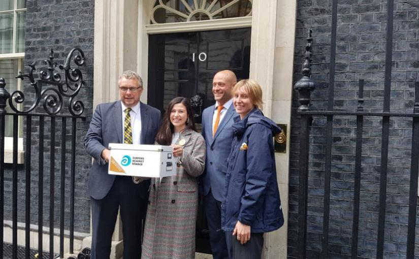MP joins Surfers Against Sewage to present 'Message in a Bottle' petition to DowningStreet