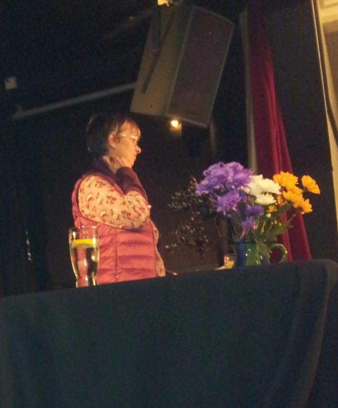 Molly Scott Cato MEP on stage in Penzance