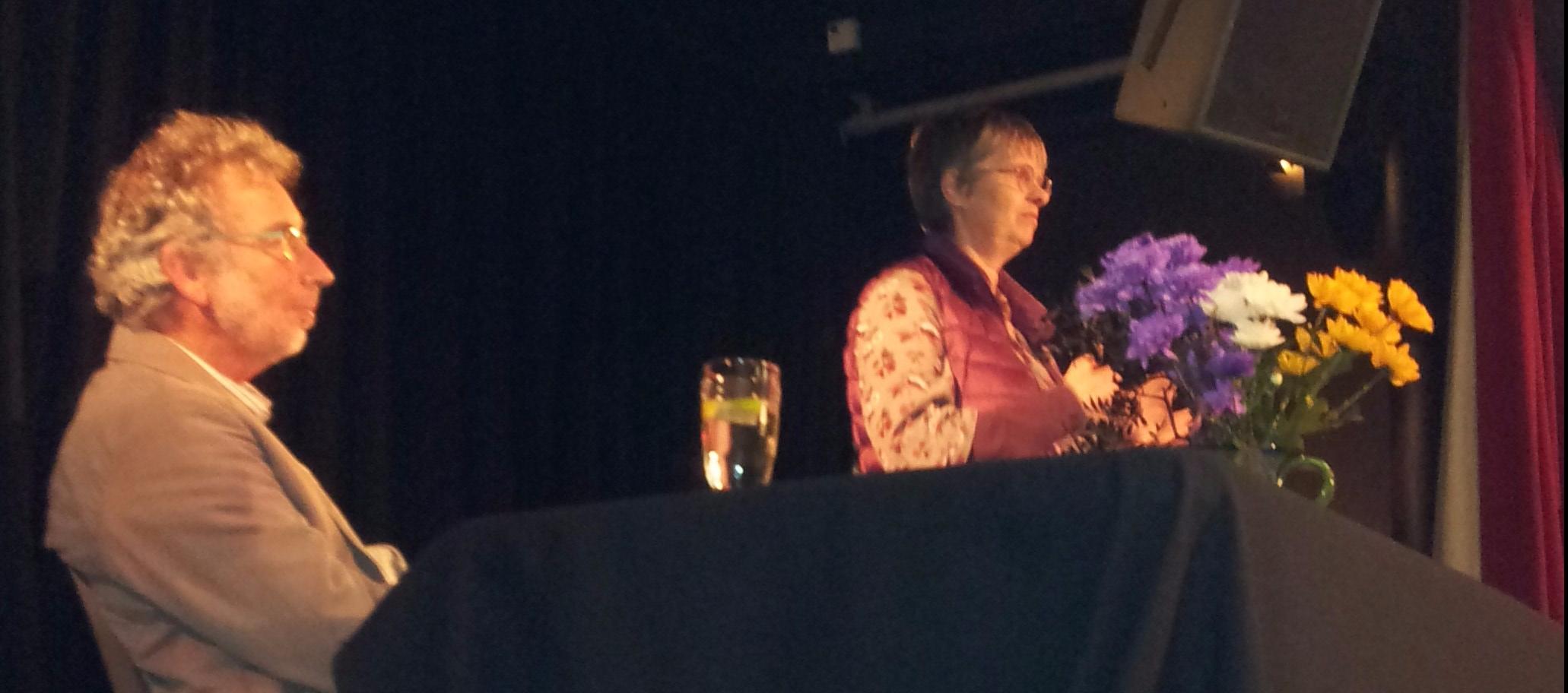 Molly Scott Cato MEP with chair Geoff Garbett at Penzance